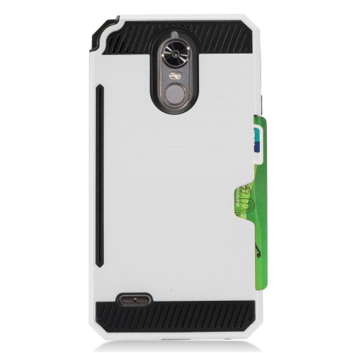 Insten Hard Dual Layer TPU Cover Case w/card holder For LG Stylo 3 - Silver/Black