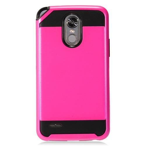 Insten Hard Hybrid TPU Case For LG Stylo 3 - Hot Pink/Black