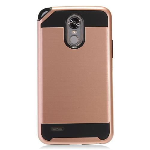 Insten Hard Dual Layer TPU Cover Case For LG Stylo 3 - Rose Gold/Black