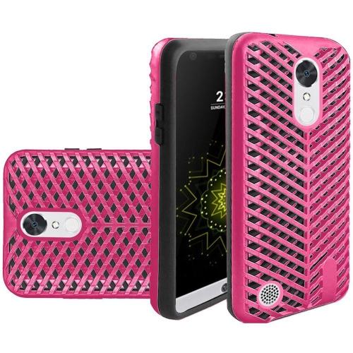 Insten Hard Hybrid Rubberized Silicone Case For LG Grace 4G/Harmony/K20 Plus/K20 V, Hot Pink/Black