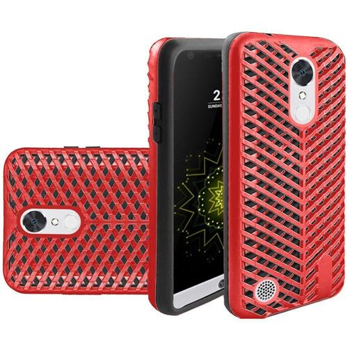 Insten Hard Hybrid Rubberized Silicone Case For LG Grace 4G/Harmony/K20 Plus/K20 V, Red/Black