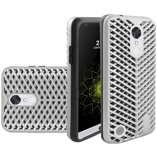 Insten Hard Hybrid Rubberized Silicone Case For LG Grace 4G/Harmony/K20 Plus/K20 V, Silver/Black