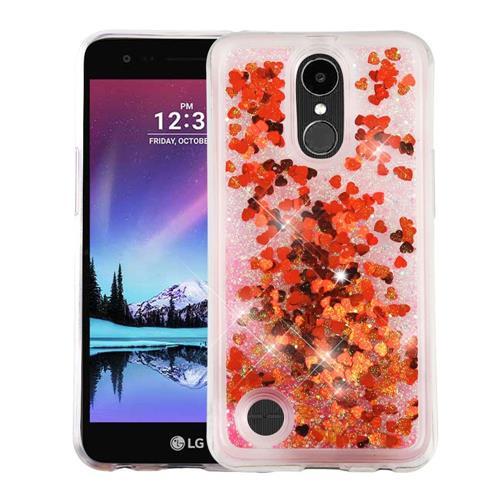 Insten Hearts Hard Glitter TPU Cover Case For LG K10 (2017)/K20 Plus/V5 - Red