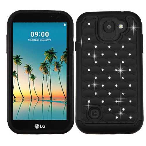 Insten Hard Dual Layer Rubberized Silicone Cover Case w/Diamond For LG K3 (2017) - Black