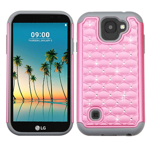 Insten Hard Dual Layer Silicone Case w/Diamond For LG K3 (2017) - Pink/Gray