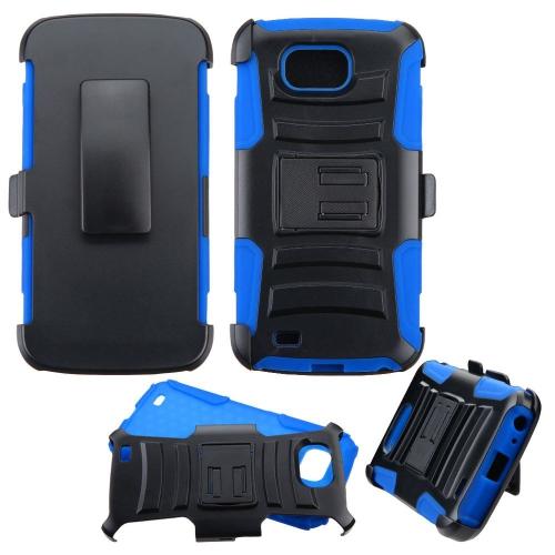 Insten Hard Hybrid Plastic Silicone Case w/Holster For LG V9 - Black/Blue