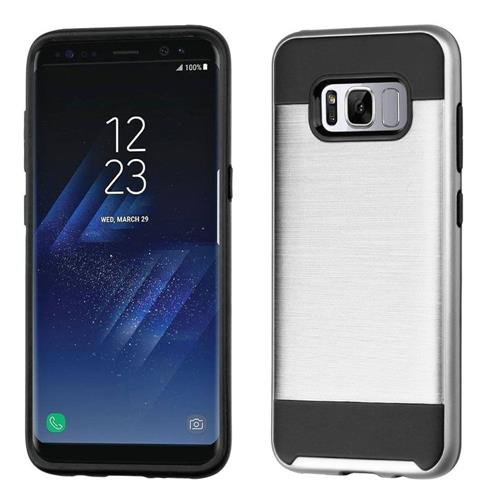 Insten Hard Dual Layer TPU Case For Samsung Galaxy S8 - Silver/Black