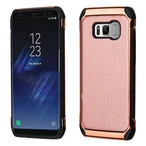 Insten Hard Dual Layer Fabric TPU Case For Samsung Galaxy S8 - Rose Gold/Black