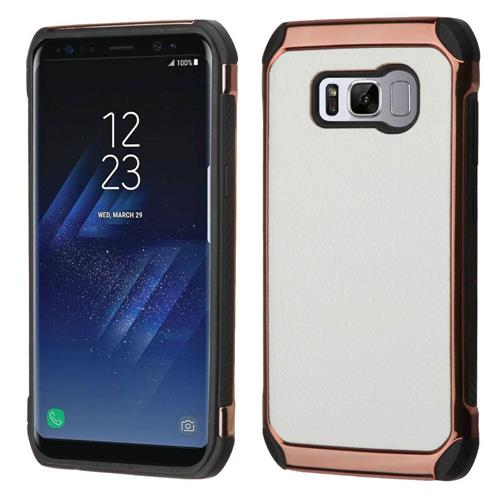 Insten Hard Dual Layer Fabric TPU Cover Case For Samsung Galaxy S8 - White/Black