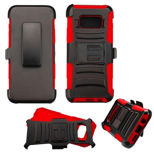 Insten Hard Hybrid Plastic Silicone Case w/Holster For Samsung Galaxy S8 - Black/Red