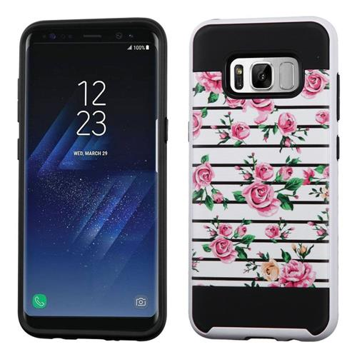 Insten Fresh Roses Hard Hybrid TPU Case For Samsung Galaxy S8 - Pink/White