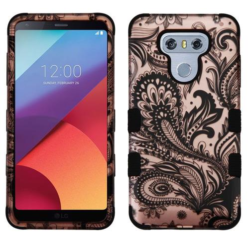 Insten Tuff Phoenix Flower Hard Dual Layer Silicone Cover Case For LG G6 - Rose Gold/Black