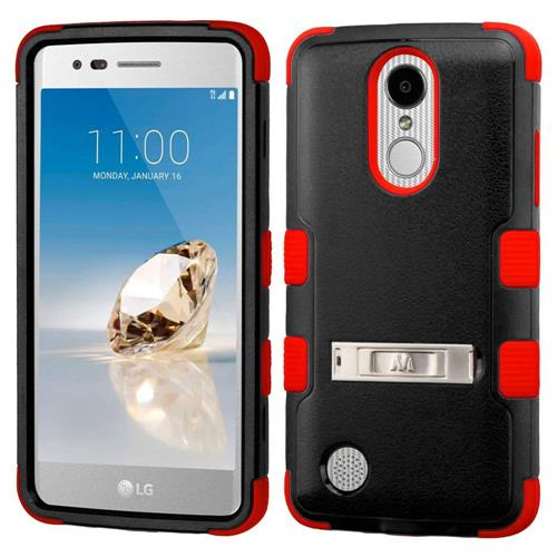 Insten Hard Silicone Cover Case w/stand For LG Aristo/Fortune/K8 (2017)/LV3/Phoenix 3, Black/Red