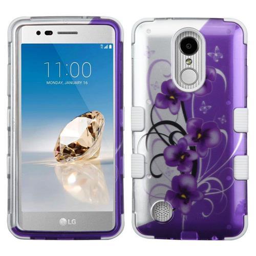 Insten Twilight Petunias Hybrid Case For LG Aristo/Fortune/K8 (2017)/LV3/Phoenix 3, Purple/White