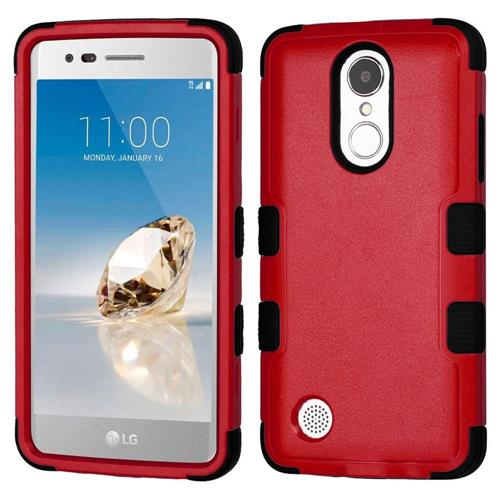 Insten Hard Rubber Coated Silicone Case For LG Aristo/Fortune/K8 (2017)/LV3/Phoenix 3, Red/Black
