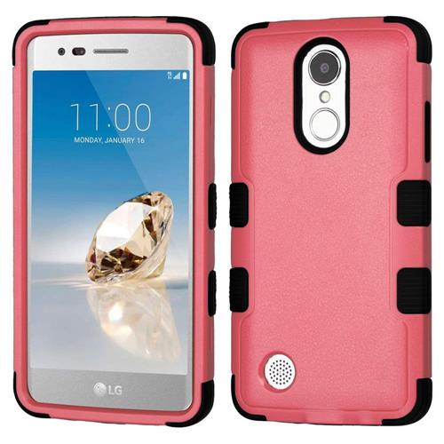 Insten Hard Rubber Coated Silicone Case For LG Aristo/Fortune/K8 (2017)/LV3/Phoenix 3, Pink/Black