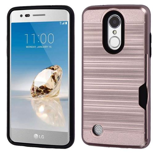 Insten Hard Dual Layer TPU Cover Case For LG Aristo/Fortune/K8 (2017)/LV3/Phoenix 3, Rose Gold/Black