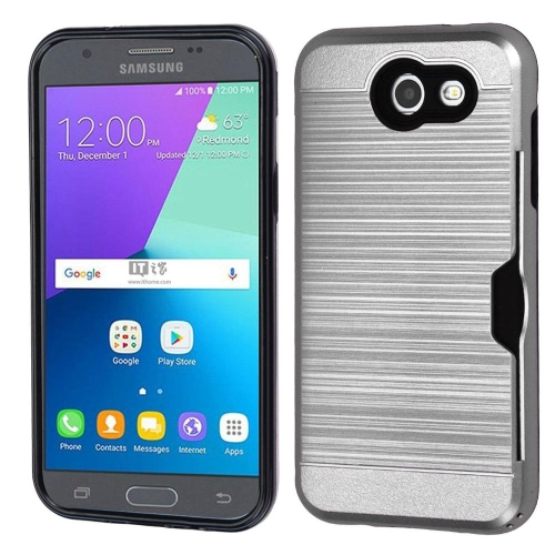 Insten Hard TPU Cover Case w/card slot For Samsung Galaxy Express Prime 2/J3 (2017), Silver/Black