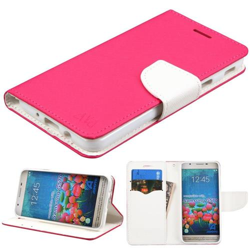 Insten Folio Leather Fabric Case w/stand/card holder For Samsung Galaxy On5 (2016), Hot Pink/White