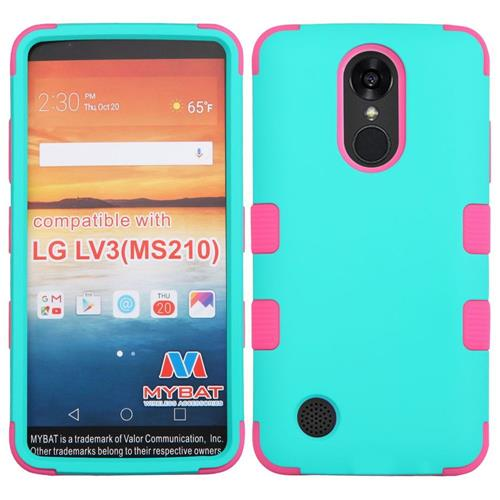 Insten Hard Dual Layer Rubber Coated Silicone Cover Case For LG LV3 - Teal/Hot Pink