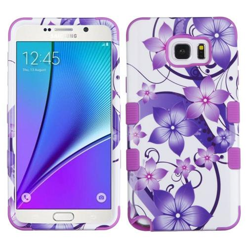 Insten Hibiscus Flower Romance Hard Silicone Cover Case For Samsung Galaxy Note 5, Purple/White