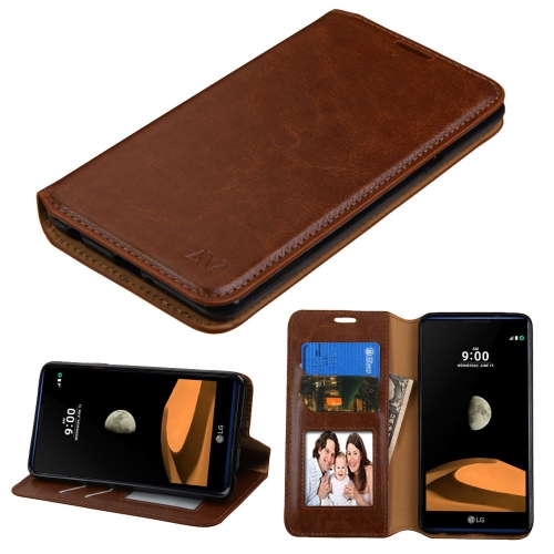 Insten Folio Leather Fabric Cover Case w/stand/card slot/Photo Display For LG X max - Brown