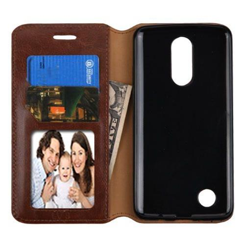 Insten Folio Leather Fabric Case w/stand/card slot/Photo Display For LG LV3 - Brown
