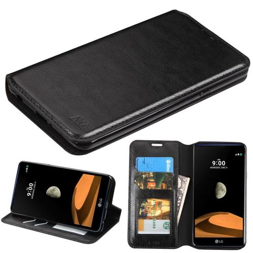 Insten Folio Leather Fabric Cover Case w/stand/card holder/Photo Display For LG X max - Black