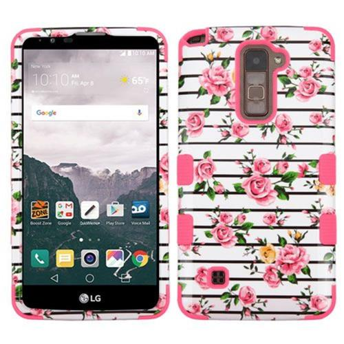 Insten Tuff Fresh Roses Hard Dual Layer Silicone Case For LG Stylo 2 Plus - Pink/White