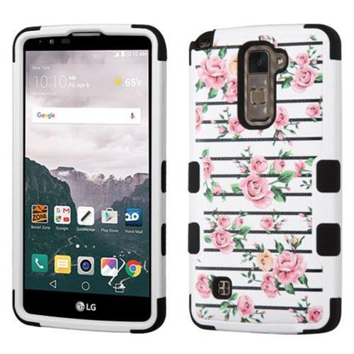 Insten Fresh Roses Hard Dual Layer Rubberized Silicone Cover Case For LG Stylo 2 Plus, Pink/White