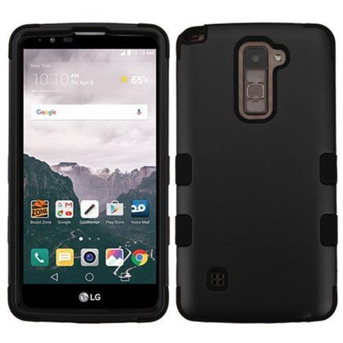 Insten Tuff Hard Hybrid Rubber Silicone Case For LG Stylo 2 Plus - Black