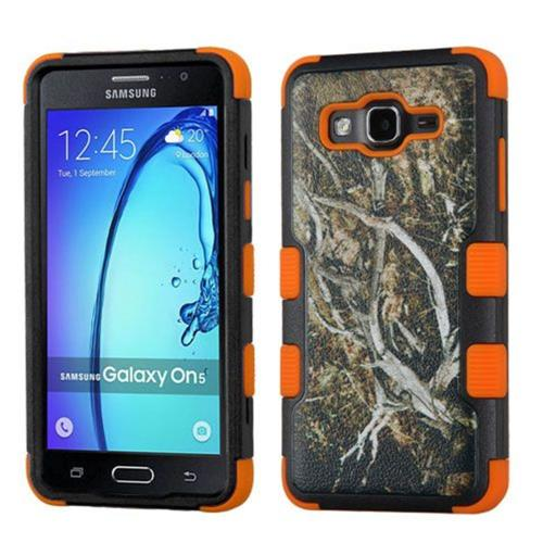 Insten Tuff Vines Hard Hybrid Rubberized Silicone Case For Samsung Galaxy On5 - Yellow/Black
