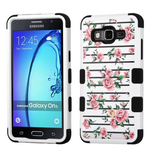 Insten Tuff Fresh Roses Hard Hybrid Silicone Case For Samsung Galaxy On5 - Pink/White