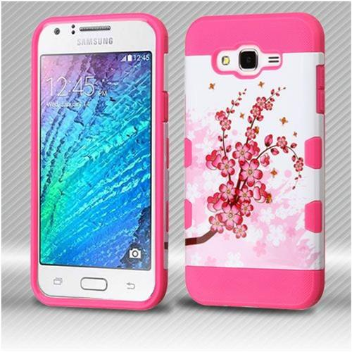 Insten Spring Flowers Hard TPU Cover Case For Samsung Galaxy J7 (2015) - Pink/White