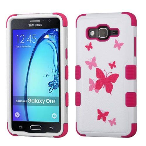 Insten Butterfly Dancing Hard Rubber Coated Silicone Cover Case For Samsung Galaxy On5, Pink/White