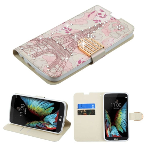 Insten Eiffel Tower Leather Fabric Case w/stand/card holder/Diamond For LG K10 (2016), Pink