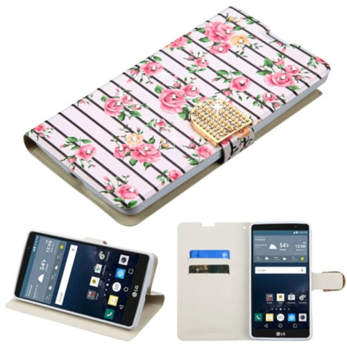 Insten Fresh Roses Leather Fabric Case w/stand/card slot/Diamond For LG G Stylo LS770, Pink/White