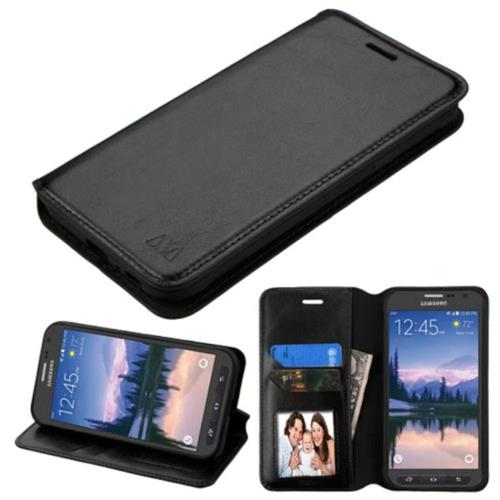 Insten Flip Leather Fabric Case w/stand/card slot/Photo Display For Samsung Galaxy S7 Active, Black