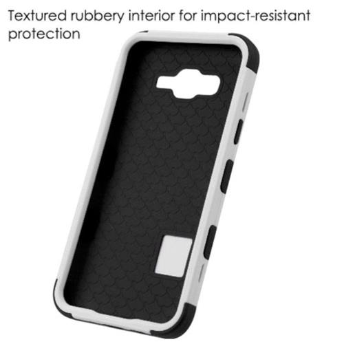 Insten Soccer Ball Collage Hard Rubber Silicone Case For Samsung Galaxy J7 (2015), Black/White