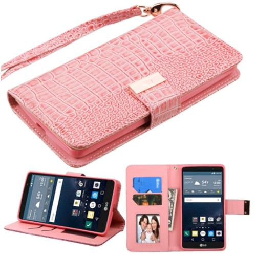 Insten Leather Crocodile Skin Case Lanyard w/stand/Photo Display For LG G Stylo LS770, Pink