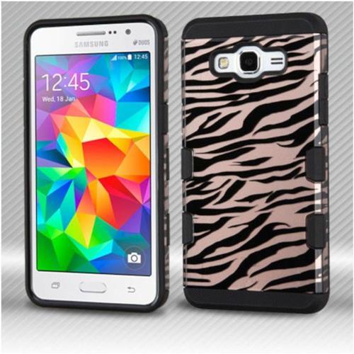 Insten Zebra Hard Dual Layer TPU Case For Samsung Galaxy Grand Prime - Rose Gold/Black