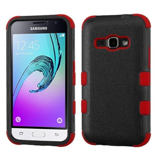 Insten Hard Rubber Coated Silicone Cover Case For Samsung Galaxy Amp 2/J1 (2016), Black/Red