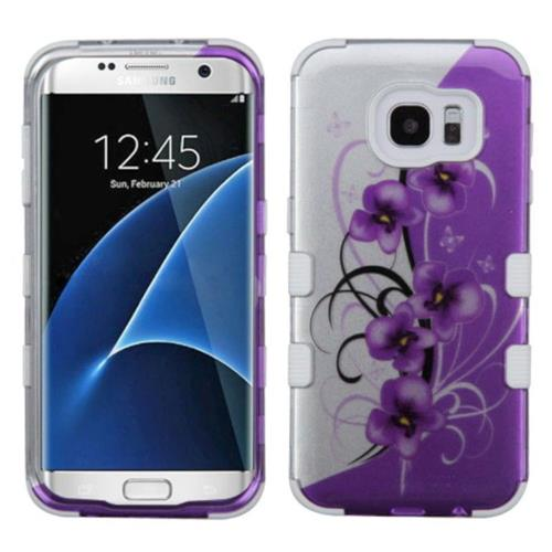 Insten Twilight Petunias Hard Rubber Coated Silicone Case For Samsung Galaxy S7 Edge, Purple/White