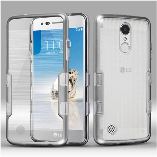Insten Hard Hybrid Brushed TPU Case For LG Fortune/K4 (2017)/K8 (2017)/LV3/Phoenix 3, Clear/Silver