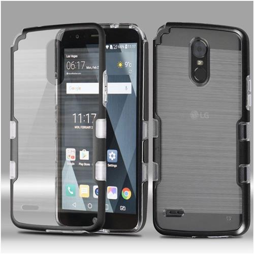 Insten Tuff Hard Dual Layer Brushed TPU Case For LG Stylo 3 - Clear/Black