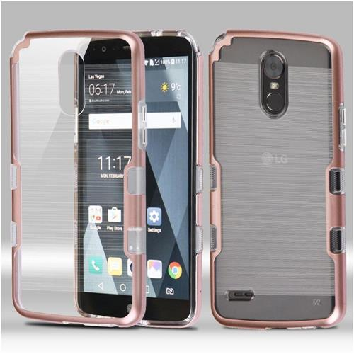 Insten Tuff Hard Dual Layer Brushed TPU Cover Case For LG Stylo 3 - Clear/Rose Gold