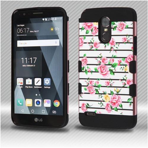 Insten Tuff Fresh Roses Hard Hybrid Silicone Case For LG Stylo 3 - White/Pink