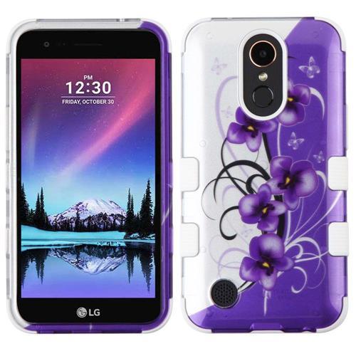 Insten Twilight Petunias Hard Rubber Case For LG Harmony/K10 (2017)/K20 Plus/K20 V, Purple/White