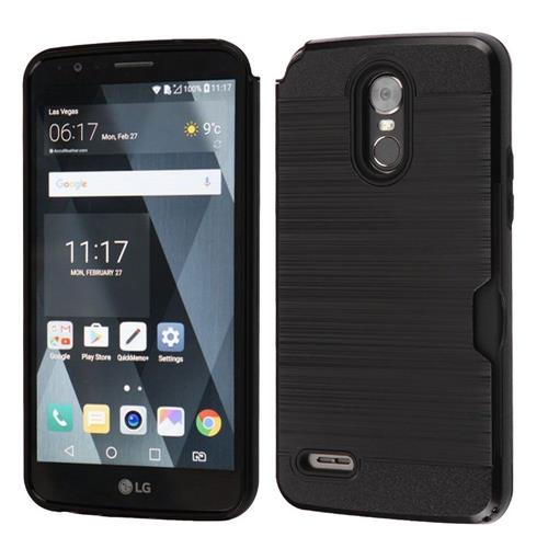 Insten Hard Dual Layer Brushed TPU Cover Case w/card slot For LG Stylo 3 - Black