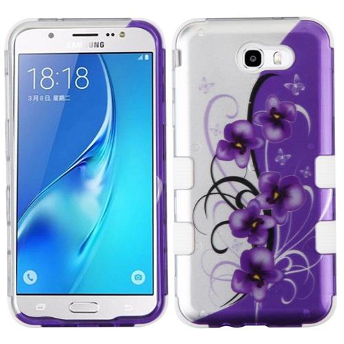Insten Tuff Twilight Petunias Hard Case For Samsung Galaxy J7 (2017)/J7 Perx/J7 Sky Pro/J7 V, Purple